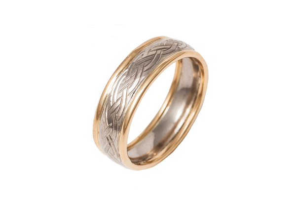 Loree Bologna Jewellery Nottingham Celtic engraved hand made wedding ring made from 18ct white gold with recycled 22ct yellow gold rounded edges. Heritage repurposing and inherited family wedding ring