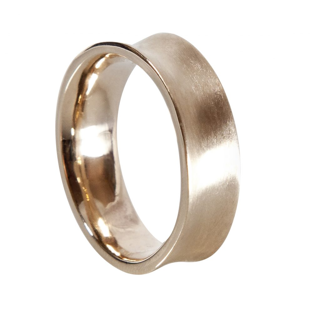 Hand made concave forged men's wedding ring 9ct yellow gold. Brushed finish shiny inside. Made from inherited recycled gold. heritage repourposing.