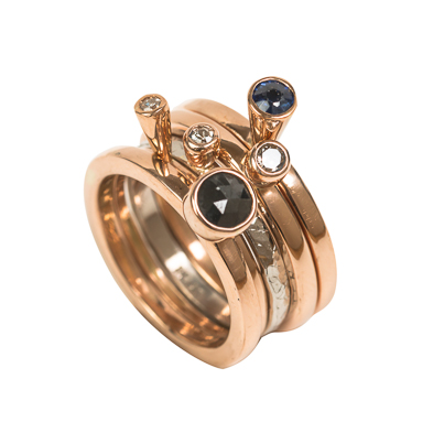 Bepoke custom handmade stacking rings made from reclaimed gold an diamonds sapphires Loree Bologna jewellery Nottingham