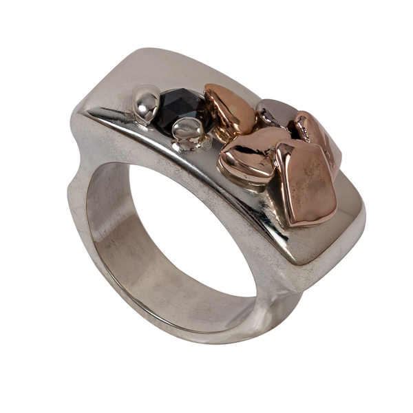 Custom made heritage re-purposed yellow white gold black diamond wedding ring