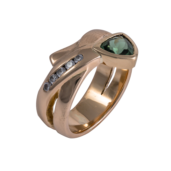 Bespoke commsion 18ct yellow gold with green trillion cut tourmaline and channel set diamonds