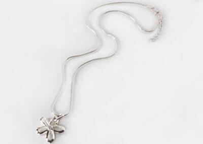 Silver and Diamond Flower Pendant