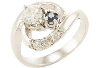 Diamond and Sapphire Engagement Ring