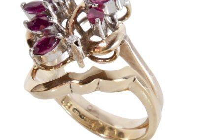 Custom Fit Wedding Ring for Vintage Ruby Cluster